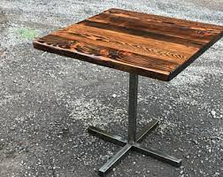Industrial Pedestal Table Reclaimed Wood Table Etsy