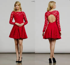 short red lace dress with sleeves naf dresses