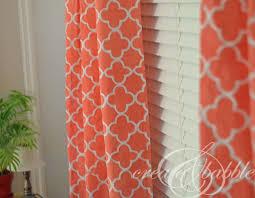 Orange Patterned Curtains Stencil Curtain Panels