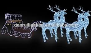 outdoor decoration led lighted acrylic santa sleigh and