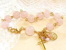 rose quartz gold bracelet images Rose quartz rosary bracelet pink gold gemstone beads felt jpg