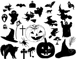 vector collection of halloween silhouettes vector illustration