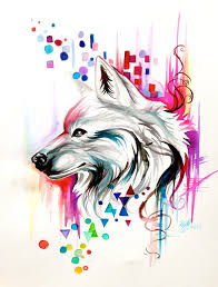 watercolor wolf design on ebay by lucky978 on deviantart