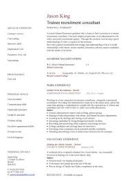 Consultant Resume Samples by Trainee Recruitment Consultant Cv Sample Recruitment Agencies