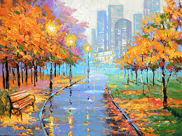 autumn in the big city high quality print on canvas by dmitry spiros