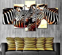 chambre de d馗ompression 5 panneaux imprimés zèbre crinière peinture sur toile chambre