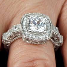 deco engagement ring cushion cut micro pave deco engagement ring
