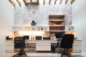Fine Contemporary Home Office Design Idea In Moscow With Beige - Home office plans and designs