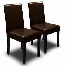 Parson Dining Chair 2pc Parson Dining Chair Pu Solid Wood Leather Padded Brown