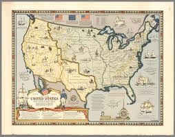 Vintage United States Map by Map Of The United States Showing Boundaries 1784 1844 David