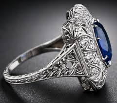 early art deco sapphire and diamond filigree ring diamonds in