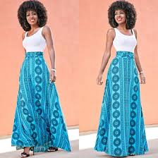 white blue patchwork print scoop neck sleeveless casual maxi dress