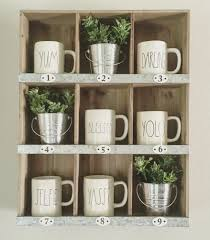 farmhouse shelves rae dunn mug display our home sweet home
