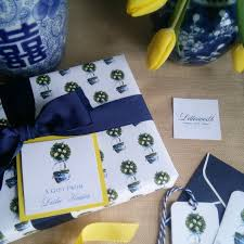 chinoiserie wrapping paper lemon topiary blue and white chinoiserie gift wrapping paper by