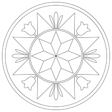 pennsylvania hex sign with compass rose free coloring page art
