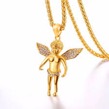 angel necklace pendant images Cupid necklace with chain men jewelry gold color stainless steel jpg