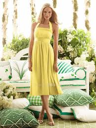 tea length wide strap halter after six sunflower bridesmaid dress