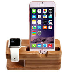 bamboo wood charging dock station for apple watch u0026 iphone all