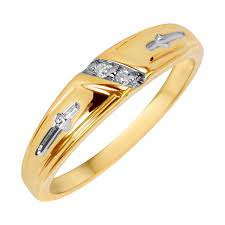 1 20 carat t w his and hers wedding band set 10k yellow gold