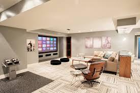 Carpet Tiles In Basement Grey Pinstripe Patterned Carpet Tiles For Basement Family Room