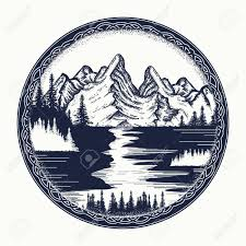 mountains and river landscape tattoo symbol tourism travel
