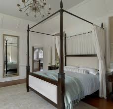 Mirrored Canopy Bed Mirrored Four Poster Bedroom Traditional With Chandelier
