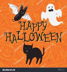 happy halloween poster cartoon bat cat stock vector 301541138