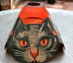 vintage halloween late 1920 u0027s four sided cat shade germany beistle