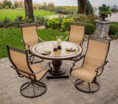 Swivel Outdoor Patio Chairs Hanover Monaco 5 Piece Outdoor Dining Set With High Back Swivel