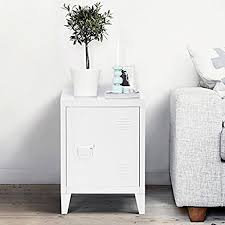 amazon com white metal nightstand cabinet side end table with