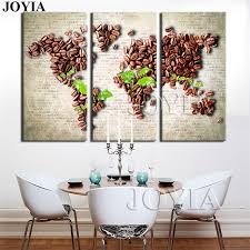 Vintage Home Decor 3 Piece Wall Art World Map Painting