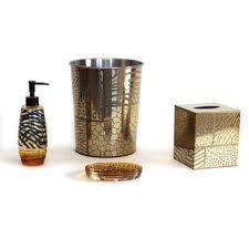 sherry kline safari brown gold bath accessory 4 piece set