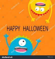 happy halloween card two screaming monster stock illustration happy halloween card two screaming monster head silhouette set eyes teeth tongue