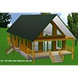 24x24 cabin w covered porch plans package blueprints material