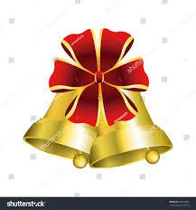bells decorations golden ribbon stock vector 649212880