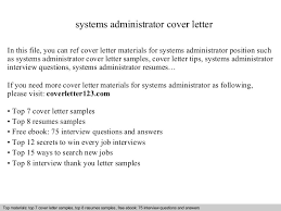 systems administrator cover letter