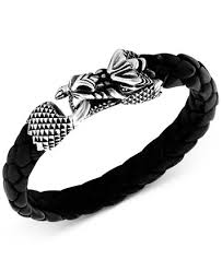 men braided leather bracelet images King baby men 39 s dragon braided leather bracelet in sterling silver tif