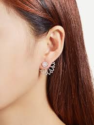 flower stud earrings open lotus flower stud earrings shein sheinside