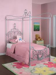 Pink Bed Frames Bedroom Black Stained Wooden Single Canopy Bed With Carved