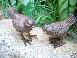 pair of rustic cast iron birds garden ornaments ebay