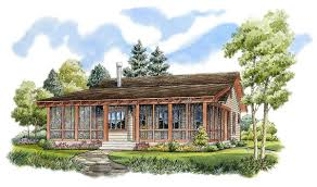 Country Cabin Plans Plan 11524kn Bunkhouse With Wraparound Porch Plans For Houses