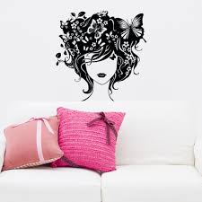 wall decals woman girl hair butterfly flowers nature vinyl zoom