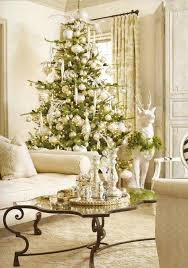 home interior tree with white decorations decorating