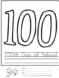 100th day of coloring pages free 100 day of