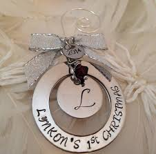 initial christmas ornament personalized hand stamped with