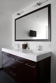 Gray Bathroom With White And Silver Hexagon Backsplash Tiles - Bathroom vanities with quartz countertops