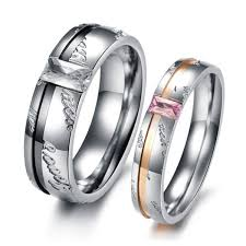 promise ring sets titanium rings set for men and women with names engraved