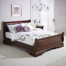 solid hardwood 6ft super king size mahogany stained sleigh bed