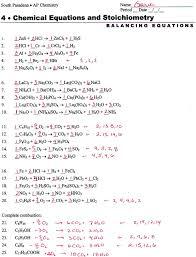 balancing chemical equations worksheet 2 checks 4 chemical equations and stoichiometry answers tessshlo