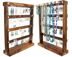 earring holder necklace images Hardwood earring holder stands with necklace rack for sale by jpg